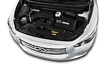 Car Stock 2014 Infiniti QX60 Hybrid 5 Door SUV Engine high angle detail view