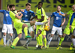 St Johnstone v Hibernian…27.02.19…  McDiarmid Park    SPFL<br />Jason Kerr battles in the box as saints look for a late equaliser<br />Picture by Graeme Hart. <br />Copyright Perthshire Picture Agency<br />Tel: 01738 623350  Mobile: 07990 594431