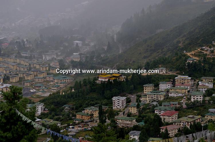 A view of Thimpu city from Bhutan Broadcasting services' tower. Arindam Mukherjee..