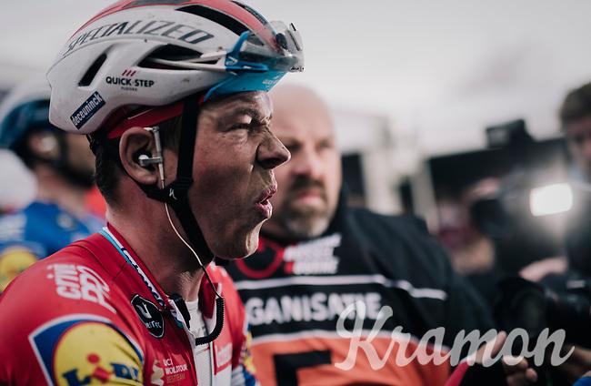'Ardennes specialist' Bob JUNGELS (LUX/Deceuninck-Quick Step) surprisingly wins the 71th Kuurne-Brussel-Kuurne 2019<br />  <br /> Kuurne to Kuurne (BEL): 201km<br /> <br /> ©kramon