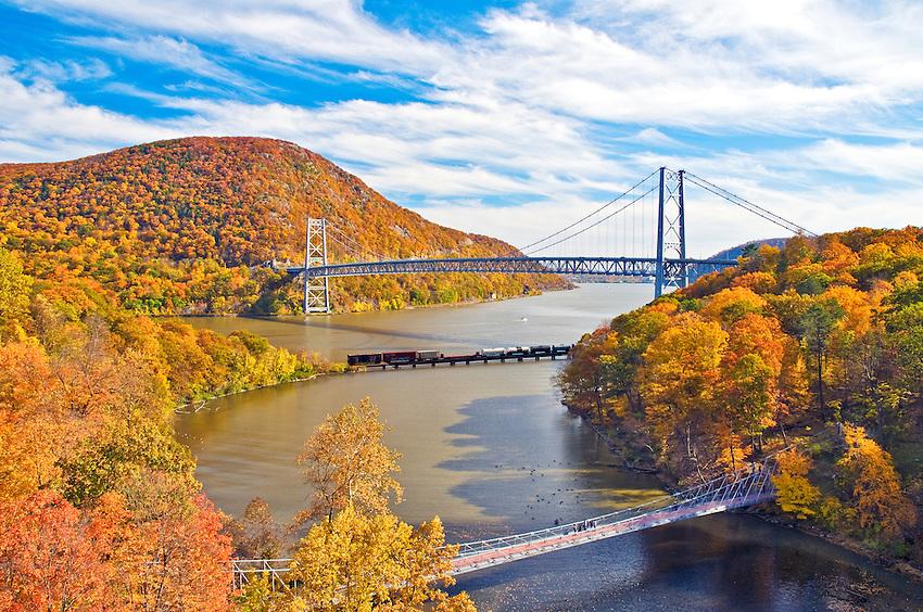 The Bear Mountain Bridge on Peak Color Day in Autumn