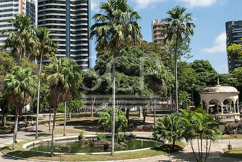 Belem, Para State, Brazil. Praca da Republica; formal circular pond with palm trees.