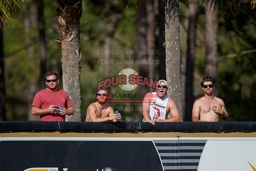 UCF Knights fans heckle from outside the stadium during a game against the Siena Saints on February 21, 2016 at Jay Bergman Field in Orlando, Florida.  UCF defeated Siena 11-2.  (Mike Janes/Four Seam Images)