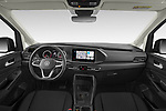Stock photo of straight dashboard view of 2021 Volkswagen Caddy Maxi-Life 5 Door Mini Mpv Dashboard