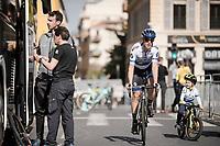 european champion Matteo Trentin (ITA/Mitchelton Scott) & son<br /> <br /> Stage 7: Nice to Col de Turini (181km)<br /> 77th Paris - Nice 2019 (2.UWT)<br /> <br /> ©kramon