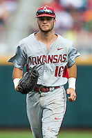 Arkansas Razorbacks outfielder Andrew Benintendi (16) during the NCAA College baseball World Series against the Miami Hurricanes on June 15, 2015 at TD Ameritrade Park in Omaha, Nebraska. Miami beat Arkansas 4-3. (Andrew Woolley/Four Seam Images)