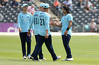 Shane Snater of Essex celebrates with his team mates after taking the wicket of Josh Shaw during Gloucestershire vs Essex Eagles, Royal London One-Day Cup Cricket at the Bristol County Ground on 3rd August 2021