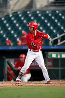 Palm Beach Cardinals Scott Hurst (7) bats during a Florida State League game against the Clearwater Threshers on August 9, 2019 at Roger Dean Chevrolet Stadium in Jupiter, Florida.  Clearwater defeated Palm Beach 5-3 in the first game of a doubleheader.  (Mike Janes/Four Seam Images)