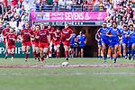 Wales and Samoa squads get into the pitch during the HSBC Hong Kong Sevens 2018 Shield Final match between Samoa and Wales on April 8, 2018 in Hong Kong, Hong Kong. Photo by Marcio Rodrigo Machado / Power Sport Images