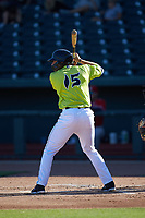 Hayden Senger (15) of the Columbia Fireflies at bat against the Rome Braves at Segra Park on May 13, 2019 in Columbia, South Carolina. The Fireflies walked-off the Braves 2-1 in game one of a doubleheader. (Brian Westerholt/Four Seam Images)