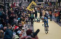 Iljo Keisse (BEL/Quick-Step floors) reaching 'all out' to high 5 a kid while on his way ti the start<br /> <br /> 102nd Ronde van Vlaanderen 2018 (1.UWT)<br /> Antwerpen - Oudenaarde (BEL): 265km