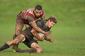Richard Judd gets taken to ground by Siulongoua Fotofili. Counties Manukau Premier Club Rugby game between Karaka and Onewhero, played at Karaka on Saturday June 25th 2016. Karaka won the game 15 - 10 after leading 10 - 3 at halftime.<br />  Photo by Richard Sprnger.