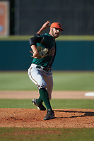 Greensboro Grasshoppers relief pitcher Cam Alldred in action against the Hickory Crawdads at L.P. Frans Stadium on May 26, 2019 in Hickory, North Carolina. The Crawdads defeated the Grasshoppers 10-8. (Brian Westerholt/Four Seam Images)