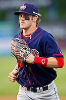 Bryce Harper #34 of the Hagerstown Suns jogs off the field between innings against the Rome Braves at State Mutual Stadium on April 30, 2011 in Rome, Georgia.   Photo by Brian Westerholt / Four Seam Images