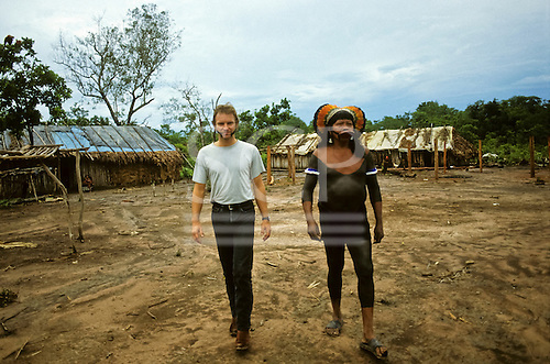 Capoto Village, Brazil. Sting and Chief Raoni of the Megranoti-Kayapo, Xingu, Brazil; Nov 1990.