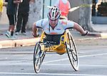Handicapped woman competes at the L.A. Marathon.
