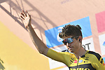 Wout Van Aert (BEL) Team Jumbo-Visma at sign on before the start of the 111th edition of Milan- San Remo 2020, running 305km from Milan to San Remo, Italy. 8th August 2020.<br /> Picture: LaPresse/Fabio Ferrari | Cyclefile<br /> <br /> All photos usage must carry mandatory copyright credit (© Cyclefile | LaPresse/Fabio Ferrari)