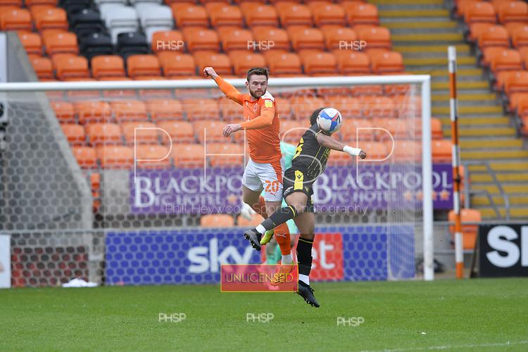 09/05/2021 Sky Bet League 1 Blackpool v Bristol Rovers  <br /> <br /> Ollie Turton challenges Zain Walker