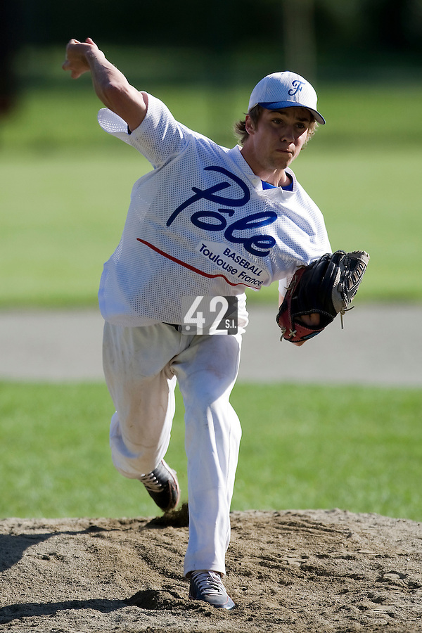 30 April 2008: Quentin Pourcel of France pitches during the first of seven 2008 MLB European Academy Try-out Sessions throughout Europe, at Stade Kandy Nelson Ball Park, in Toulouse, France. Try-out sessions are run by members of the Major League Baseball Scouting Bureau with assistance from MLBI staff.