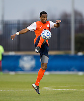 Marcus Salady-Defour (16) of Virginia controls the ball during the ACC Finals at the Maryland SoccerPlex in Boyds, MD.  Maryland defeated Virginia, 1-0, to win the title.
