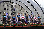 Sky Procycling team members on stage at the Team Presentation Ceremony before the 2012 Tour de France in front of The Palais Provincial, Place Saint-Lambert, Liege, Belgium. 28th June 2012.<br /> (Photo by Eoin Clarke/NEWSFILE)