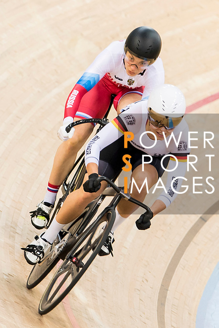 Emma Hinze of the Great Britain team and Daria Shmeleva of the Russia team compete in the Women's Sprint - 1/16 Finals as part of the 2017 UCI Track Cycling World Championships on 13 April 2017, in Hong Kong Velodrome, Hong Kong, China. Photo by Chris Wong / Power Sport Images