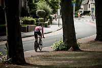 Jens Debusschere (BEL/Lotto Soudal) riding the cycle path during his recon. <br /> <br /> Binckbank Tour 2018 (UCI World Tour)<br /> Stage 2: ITT Venray (NL) 12.7km