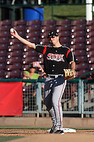 Connor Powers #33 of the Lake Elsinore Storm during a game against the Inland Empire 66'ers at San Manuel Stadium on July 15, 2012 in San Bernardino, California. Inland Empire defeated Lake Elsinore 4-3. (Larry Goren/Four Seam Images)