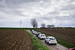 Officials and friends during the reconaissance of the pave sectors before the 2018 Paris-Roubaix. 3rd April 2018.<br /> Picture: ASO/P.Ballet | Cyclefile<br /> <br /> <br /> All photos usage must carry mandatory copyright credit (© Cyclefile | ASO/Pauline Ballet)