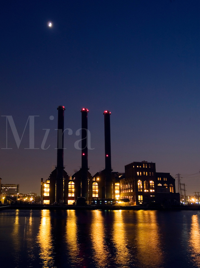 Power plant at night in Providence, Rhode Island