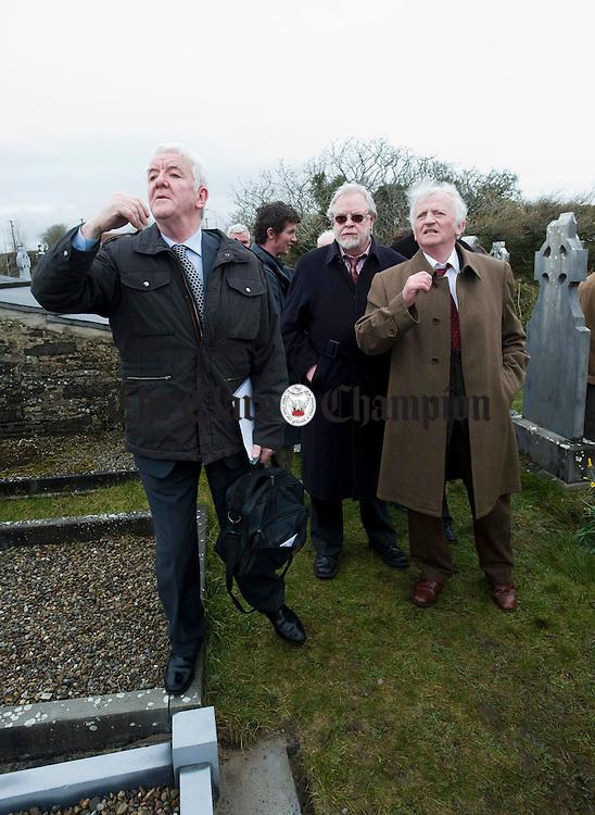 Mick O Connor, Tony Mc Mahon and Seamus Mac Mathuna at the funral of musician Joe Ryan in Inagh. Photograph by John Kelly.