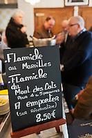 Europe/France/Nord-Pas-de-Calais/59/Nord/Godewaersvelde: L'ardoise qui propose les différentes flamiches à l'Estaminet du Centre
