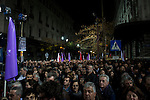 Athens, Greece, January 22, 2015. The crowd of people listening to Alexis Tsipras during the final political rally for Syriza.