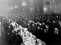 "The ""First Passover Sedar Dinner"" given by Jewish Welfare Board to men of Jewish Faith in the A.E.F. in order that they may observe the Passover Holidays. Paris, France.  April 1919.  Pvt. L. Cohen. (Army)<br /> Exact Date Shot Unknown<br /> NARA FILE #:  111-SC-158424<br /> WAR & CONFLICT BOOK #:  650"
