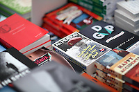 Monday 26 May 2014, Hay on Wye, UK<br /> Pictured: Books in the festival book store<br /> Re: The Hay Festival, Hay on Wye, Powys, Wales UK.
