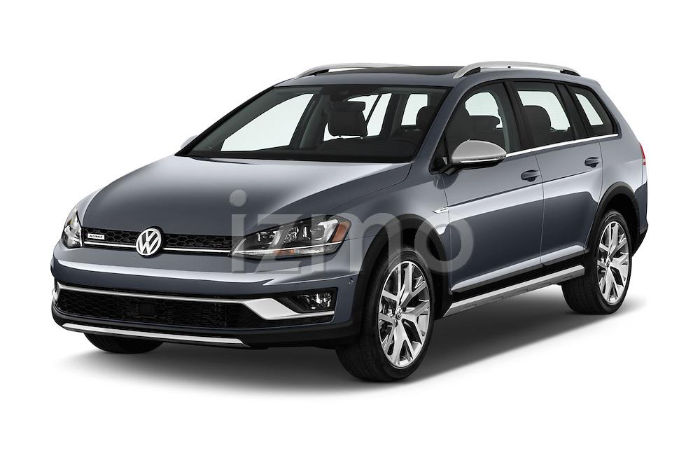 2017 Volkswagen Golf-Alltrack SEL 5 Door Wagon Angular Front stock photos of front three quarter view