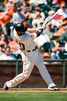 12 April 2008: #40 Daniel Ortmeier of the Giants breaks his bat while batting during the St. Louis Cardinals 8-7 victory over the San Francisco Giants at the AT&T Park in San Francisco, CA.
