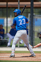 Toronto Blue Jays first baseman Jake Brodt (23) at bat during a Florida Instructional League game against the Pittsburgh Pirates on September 20, 2018 at the Englebert Complex in Dunedin, Florida.  (Mike Janes/Four Seam Images)