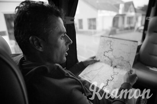 preparations: Bjorn Leukemans (BEL/Wanty-GroupeGobert) checking the roadbook in the teambus<br /> <br /> Paris - Roubaux 2014