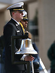 Robert White, with the Carson High JROTC, rings a bell during the Pearl Harbor 75th Commemoration at the U.S.S. Nevada memorial at the Capitol in Carson City, Nev. on Wednesday, Dec. 7, 2016. <br /> Photo by Cathleen Allison/Nevada Photo Source