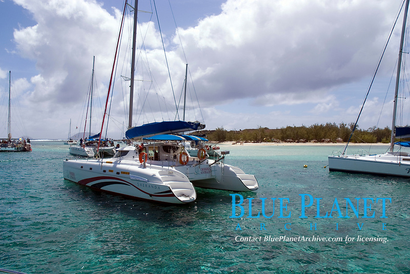Catamarans moored off Gabriel Island, Mauritius - a popular day trip from the main island