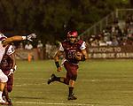 September 21, 2017. Durham, North Carolina.<br /> <br /> Quarterback Chauncey Caldwell runs the ball upfield. <br /> <br /> The NCCU Eagles won a home game against the the South Carolina State Bulldogs 33-28 at O'Kelly–Riddick Stadium.