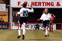 Kerry Davis of England celebrates a goal during England Women vs Portugal Women, European Championship Qualifying Football at Griffin Park, Brentford FC on 19th May 1996