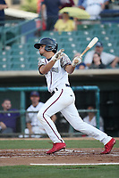 Scott Burcham (5) of the Lancaster JetHawks bats against the Inland Empire 66ers at The Hanger on September 3, 2017 in Lancaster, California. Lancaster defeated Inland Empire, 5-4. (Larry Goren/Four Seam Images)