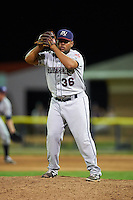 Mahoning Valley Scrappers pitcher Yoiber Marquina (36) gets ready to deliver a pitch during a game against the Batavia Muckdogs on July 3, 2015 at Dwyer Stadium in Batavia, New York.  Batavia defeated Mahoning Valley 7-4.  (Mike Janes/Four Seam Images)