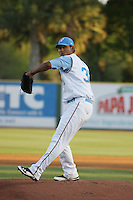 Myrtle Beach Pelicans pitcher Wilmer Font #36 on the mound during a game against the Potomac Nationals at Tickerreturn.com Field at Pelicans Ballpark on April 11, 2012 in Myrtle Beach, South Carolina. Potomac defeated Myrtle Beach by the score of 6-3. (Robert Gurganus/Four Seam Images)