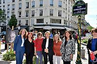 Nathalie KOSCIUSKO-MORIZET, Pia MOUSTAKI, Tante de Moustaki, Florence BERTHOUT, Tante de Moustaki, Anne HIDALGO - Inauguration Place Georges Moustaki - 23/5/2017 - Paris - France