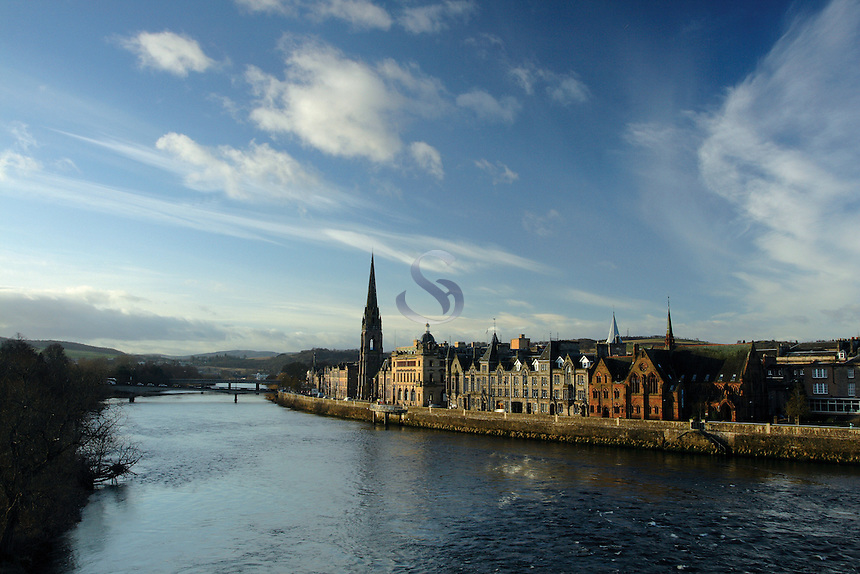 The many buildings of the city of Perth and the River Tay Perthshire Scotland. Perth is known as the Fair City<br /> <br /> Copyright www.scottishhorizons.co.uk/Keith Fergus 2011 All Rights Reserved