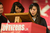 Tiara Sanchez, whose mother and grandmother work as cleaners in the Treasury, speaks about the need for a Living Wage at the Citizens UK General Election Assembly, Central Hall, Westminster, London.