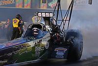 Feb. 14, 2013; Pomona, CA, USA; NHRA top fuel dragster driver Leah Pruett during qualifying for the Winternationals at Auto Club Raceway at Pomona.. Mandatory Credit: Mark J. Rebilas-